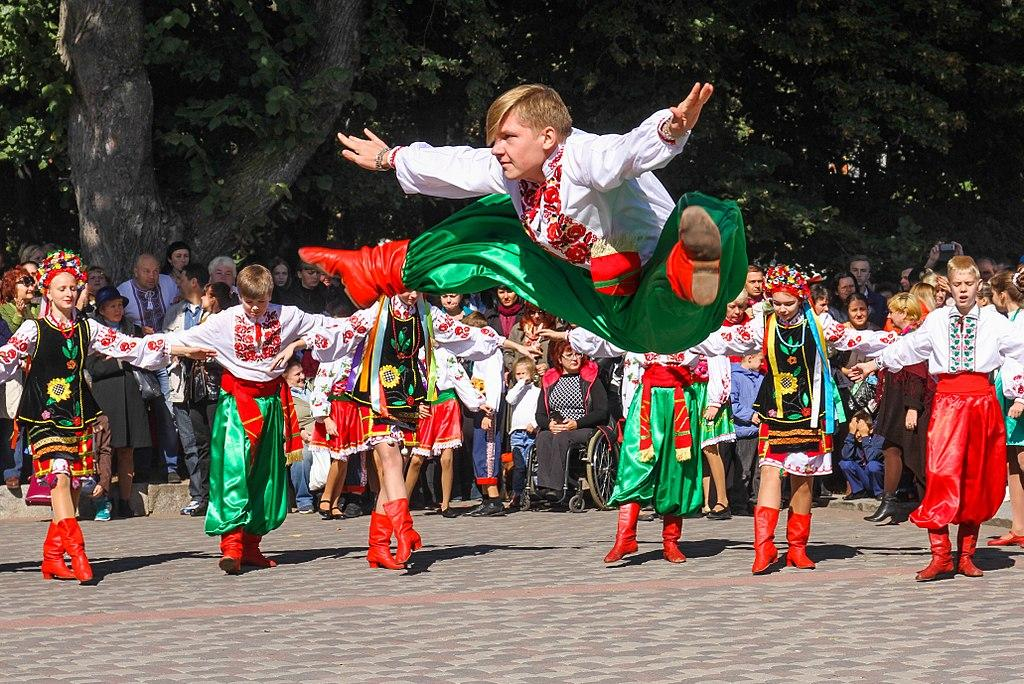 Young Ukrainian dance troupe performs agile moves in colourful costumes. | Edmonton UFest | Stawnichy's Mundare Sausage