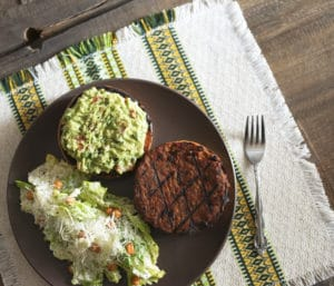 Spicy Bean Burger with guacamole