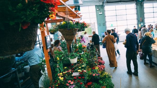 Strathcona Market with a flower shop